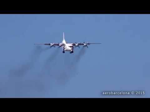 [FULL HD] Cavok Air ANTONOV AN-12 Smoky landing Barcelona-El Prat