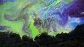 Aurora Borealis Resin Painting