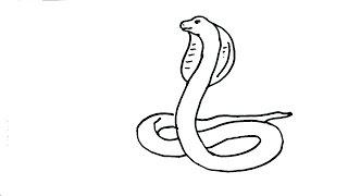 How to draw Snake- King Cobra- in easy steps for children. beginners
