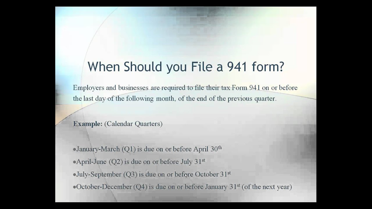 Tax Form 941 Instructions (Filing Requirements) - Video - YouTube