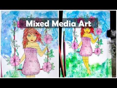 Mixed Media Art Tutorials for Beginners|Mixed Media Art Techniques|Mixed Media using Tissue Paper