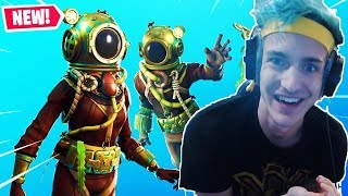 NINJA Uses *NEW* Deep Sea Skin, Krakenaxe & Nautilus Glider! Fortnite Battle Royale Gameplay