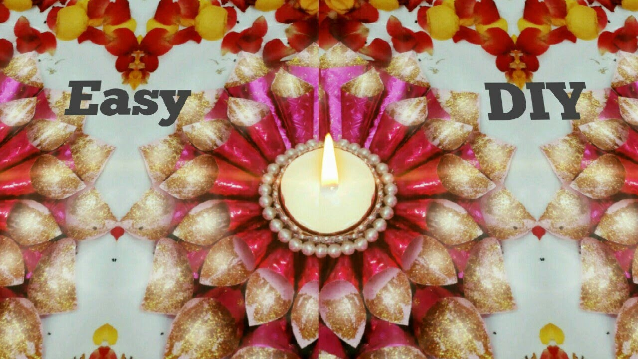 Diwali diya decoration ideas at home 1 diy easy diya for Diya decoration youtube