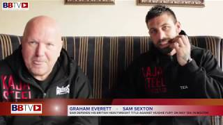 SAM SEXTON AND COACH GRAHAM EVERETT DISCUSS BRITISH TITLE DEFENCE AGAINST HUGHIE FURY