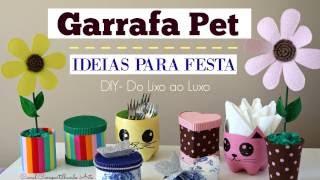Artesanato com Garrafa Pet – 5 ideias para festa – DIY Do lixo ao Luxo