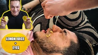 LEMON JUICE IN EYES WAKE UP PRANK! *PAINFUL*