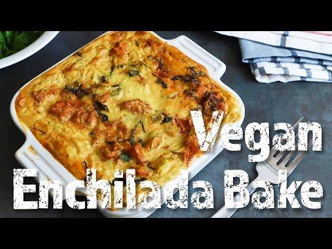 Vegan Enchilada Suiza Bake with Chickpea Flour Tortillas (Vegan +WFPB + oil free + gluten free)