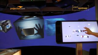 Interactive multitouch-controlled content browser with 3-channel dome projection