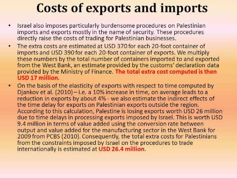 The Economic Costs of the Israeli Occupation for the occupie