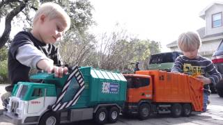 Childrens Toy Garbage Trucks - Playing with Toy Bruder and Tonka Garbage Trucks