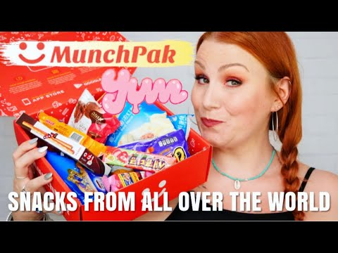 MUNCHPAK  'COOLEST SNACKS FROM AROUND THE WORLD' SUBSCRIPTION UNBOXING + TASTE TEST