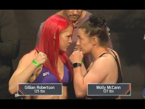 Gillian Robertson Vs. Molly McCann - Weigh-in Face-Off - (UFC Liverpool) - /r/WMMA