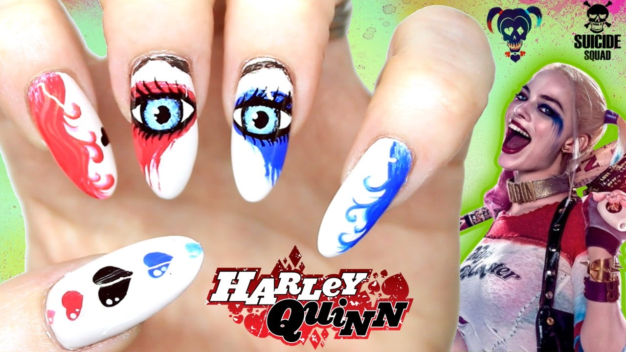 Harley Quinn Nail Art Suicide Squad Nails Pop Artcomic Book Style