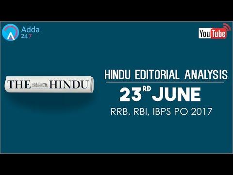 The Hindu Editorial Analysis - 23rdJune 2017 - Online Coaching for SBI, IBPS Bank PO