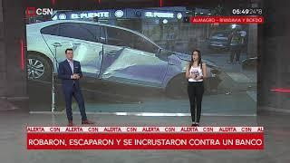 Tres delincuentes chocaron contra un banco en Almagro, robaron otro auto y escaparon