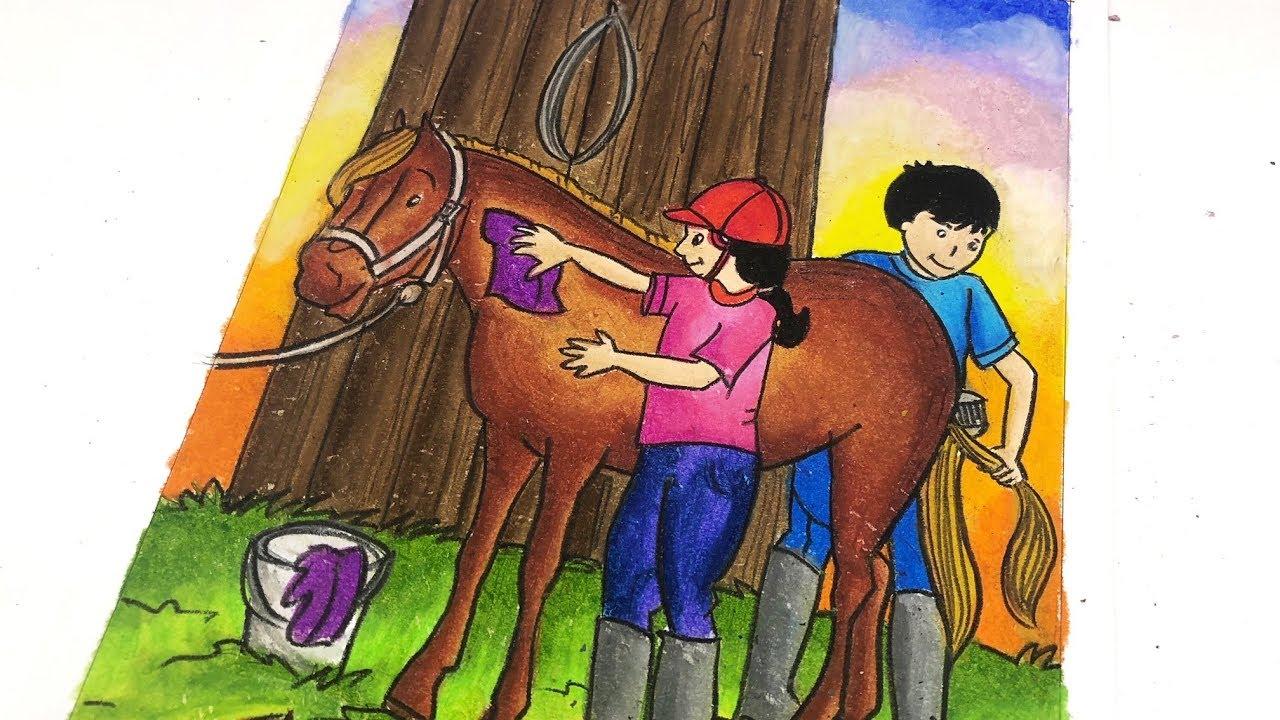 Menggambar Dan Mewarnai Gradasi Dengan Crayon Bertemakan Kuda Poni Youtube