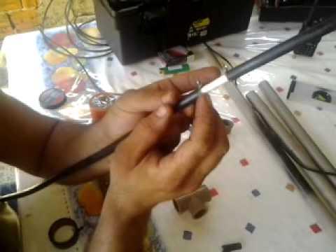 Pu2khv antena bazzoka para vhf montagem garimpero