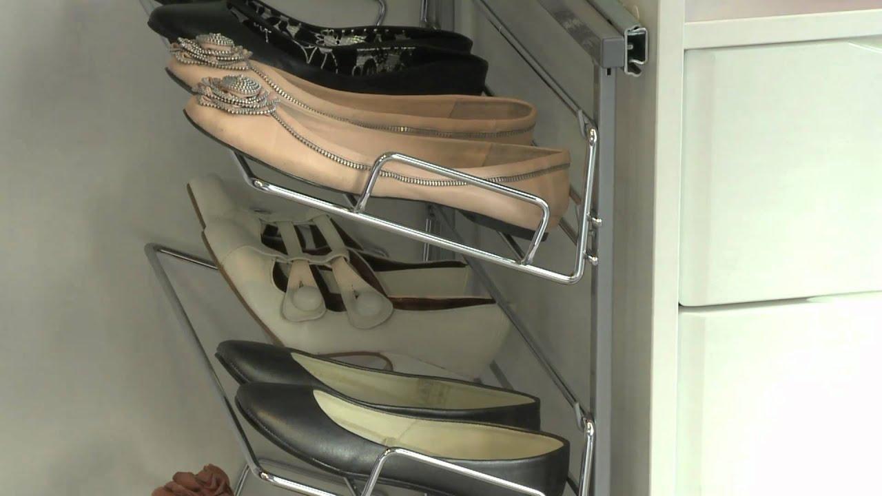 Sliderobes Wardrobe Interior Pull Out 3 Tier Shoe Rack