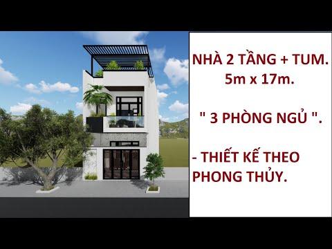 Mẫu Nhà 2 Tầng 1 Tum Đẹp | Kích Thước 5x17m | Thiết Kế Nhà Theo Phong Thủy