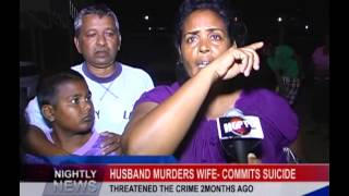 HUSBAND MURDERS WIFE  COMMITS SUICIDE