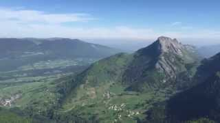 Helicopter mountain flying, Mont Blanc and Annecy lake.