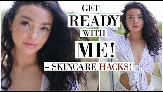 GET READY WITH ME ON THE BEACH!   Skincare, Outfit, & Makeup