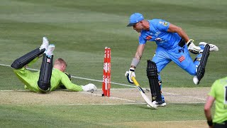 Thunder get two run outs on the same ball   KFC BBL 10