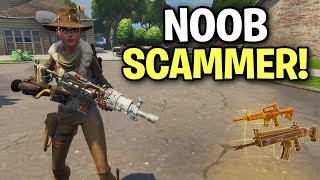 super noob scammer freaks out!!! 😆 (Scammer Get Scammed) Fortnite Save The World