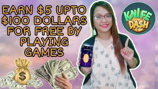 Download lagu EARN $5 UPTO $100 DOLLARS FOR FREE BY PLAYING GAMES | KNIFE DASH APP📲