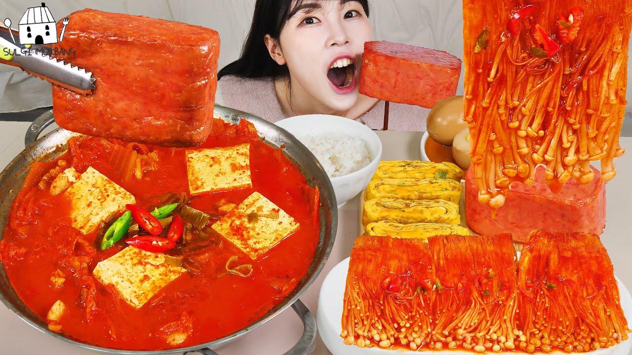 ASMR MUKBANG| 직접 만든 불닭 버섯 김치찌개 통스팸 먹방 & 레시피 FIRE MUSHROOMS EATING
