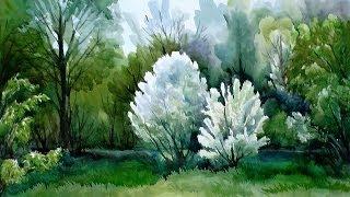Весенний пейзаж акварелью, Spring landscape watercolor, irishkalia