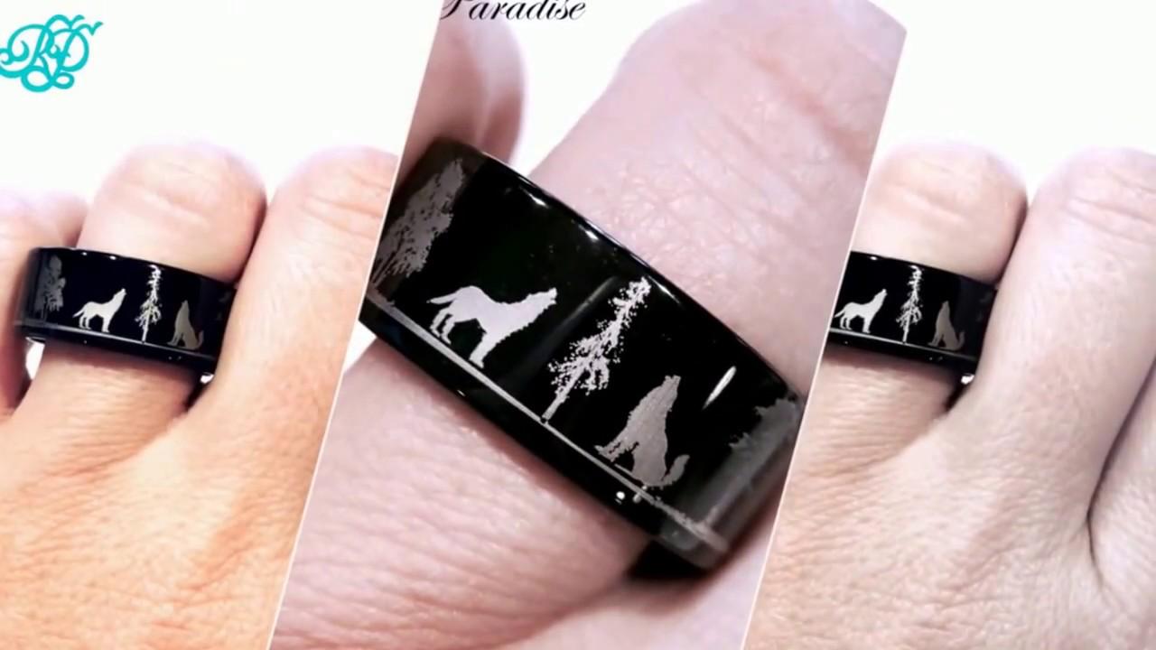 Wolf Ring Wedding Bands Mens Tungsten Women Band