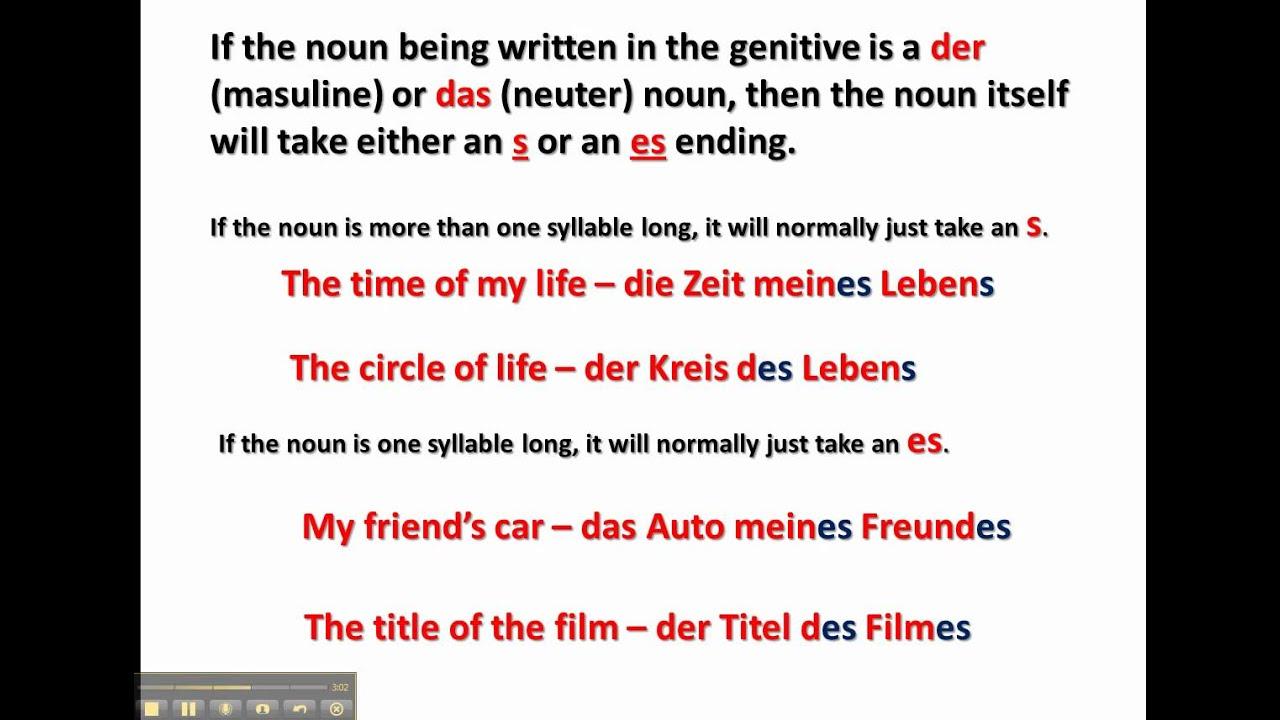 The Genitive Case in German - www.germanforspalding.org - YouTube