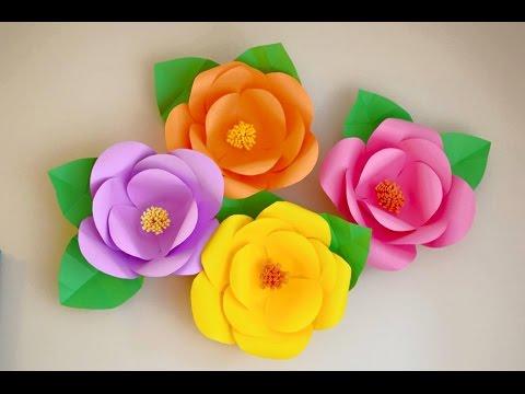 Flores Grandes De Papel Diy Hojas De Colores Youtube