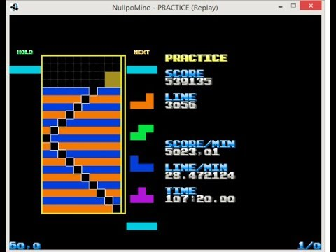 Nullpomino - Pattern building - orange/blue checkboard