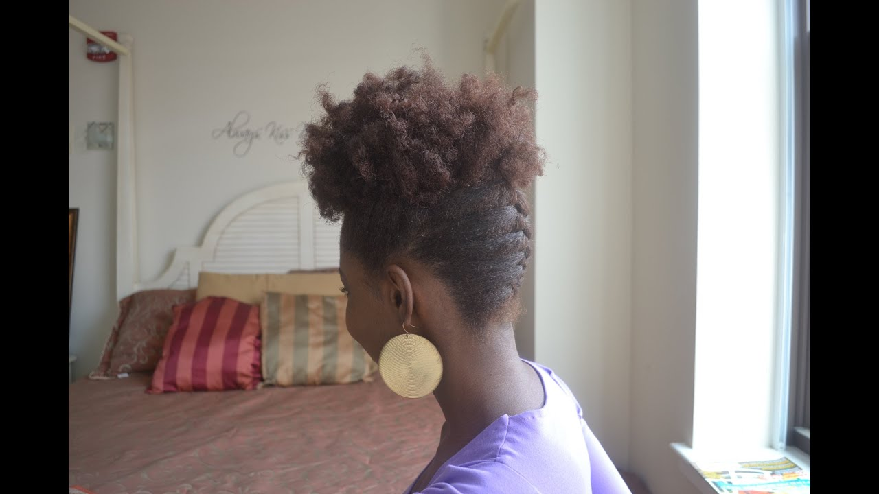 Natural Hair French Braid Updo + Tutorial