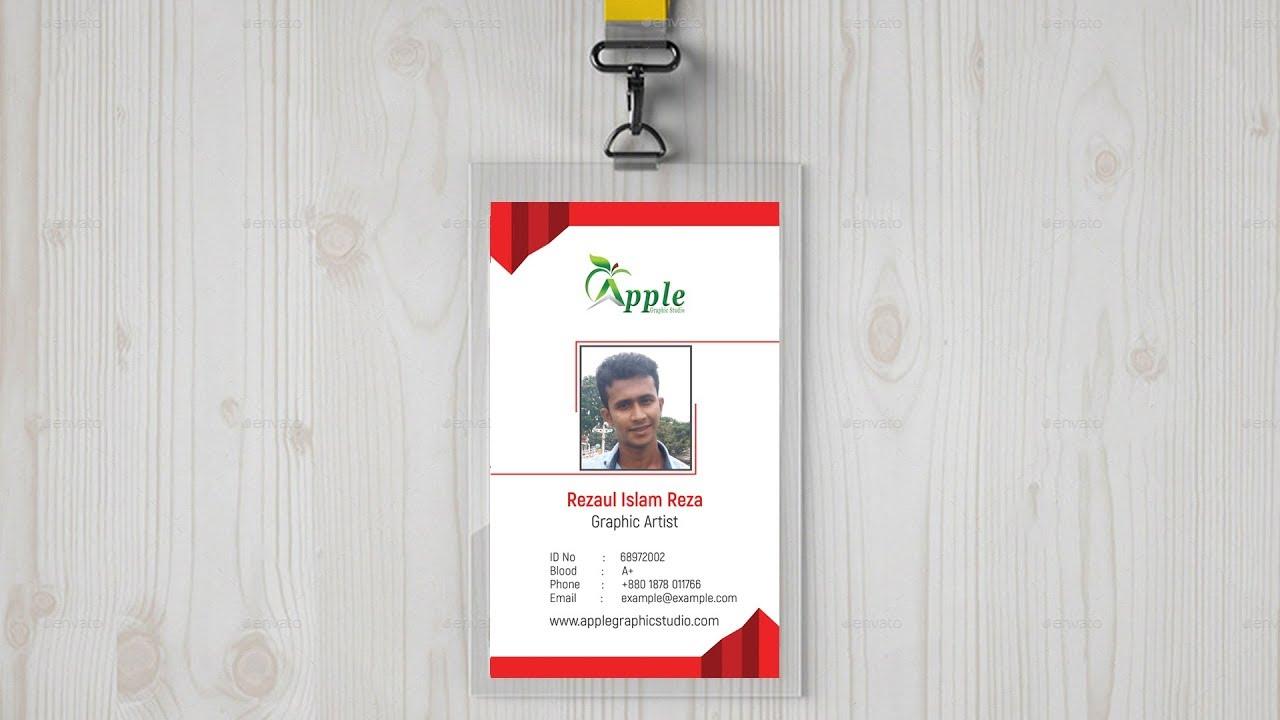 Company ID Card Design | ID Badge Maker - Photoshop Tutorial - YouTube