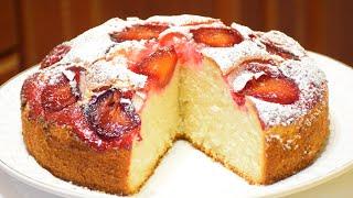 Пирог со свежими сливами ✧ На кефире