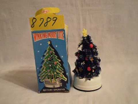 vintage battery operated winking merry lite christmas tree decoration - Battery Powered Christmas Decorations