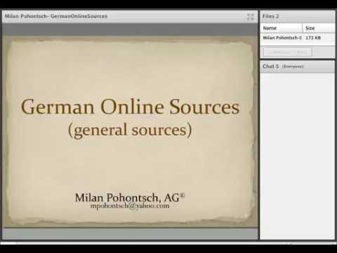 German Online Sources - Milan Pohontsch