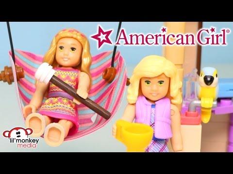 American Girl Lea's Beach Hut & Lanie's Camping Trip Mega Construx Sets!!