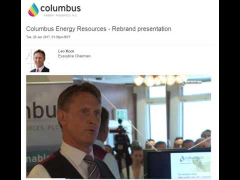 Columbus Energy - 20th June 2017 Re-branding Company update