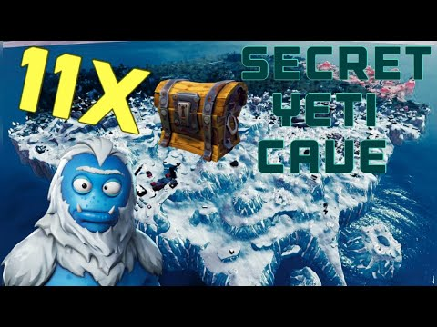 SECRET YETI CAVE WITH 11 CHESTS IN FORTNITE BATTLE ROYALE