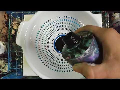 Acrylic Pour through a colander