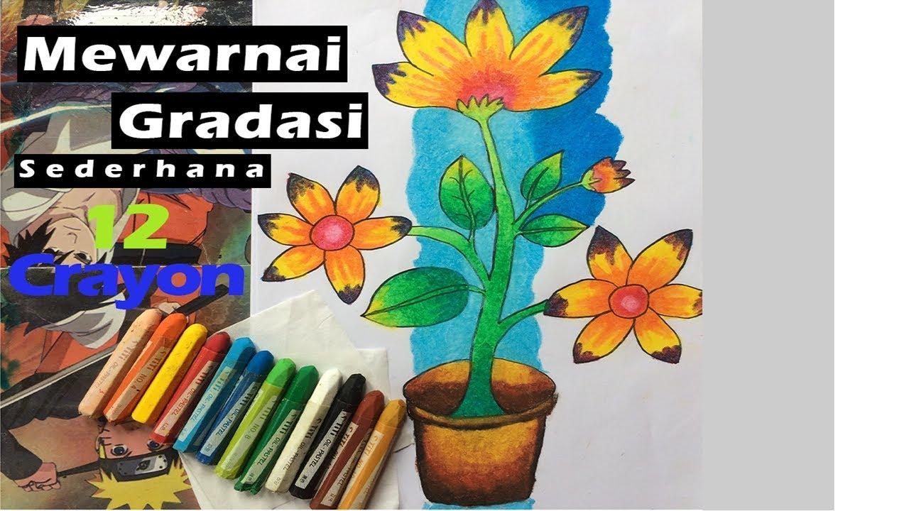 Cara Mewarnai Gradasi Sederhana Bunga dengan 12 Crayon Nensisetyawati