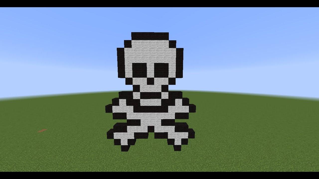 minecraft how to make skelton bones pixel art youtube