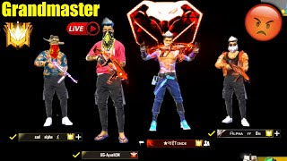 [🔴LIVE] ONLY SERIOUS GAMEPLAY😡😡 Top 1 GLOBAL GRANDMASTER GARENA FREE FIRE- JOKER FACECAM !!