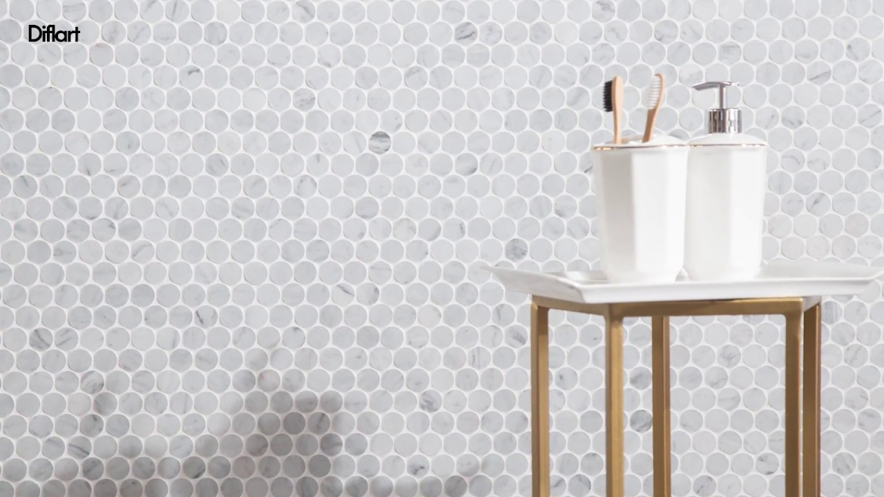 Penny Round Carrara Marble Mosaic Tile