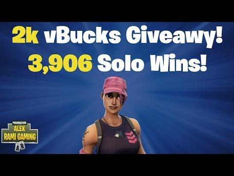 2k vBucks Giveaway | 3,906 Solo Wins | Fortnite Battle RoyaleLivestream