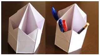 DIY - Useful PEN STAND origami | Paper PEN STAND | How to make PEN PENCIL HOLDER